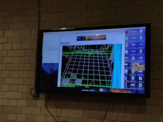 Ben demoing chess board image recognition at Show & Tell 26