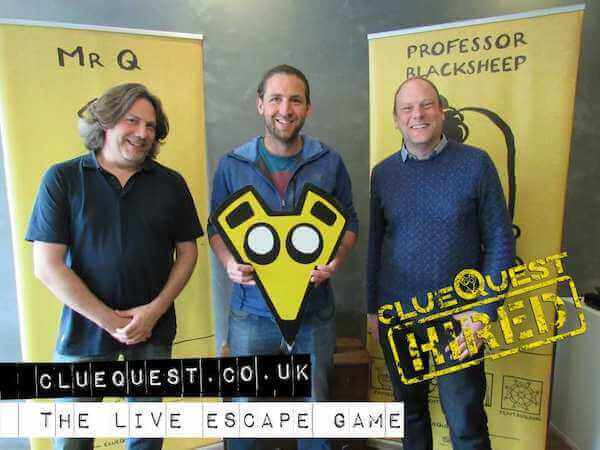 Go Free Range celebrate escaping the ClueQuest escape room