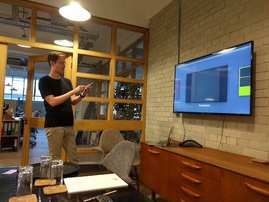 "Leo demoing the Geckboard mobile ""remote"" at Show & Tell 34"