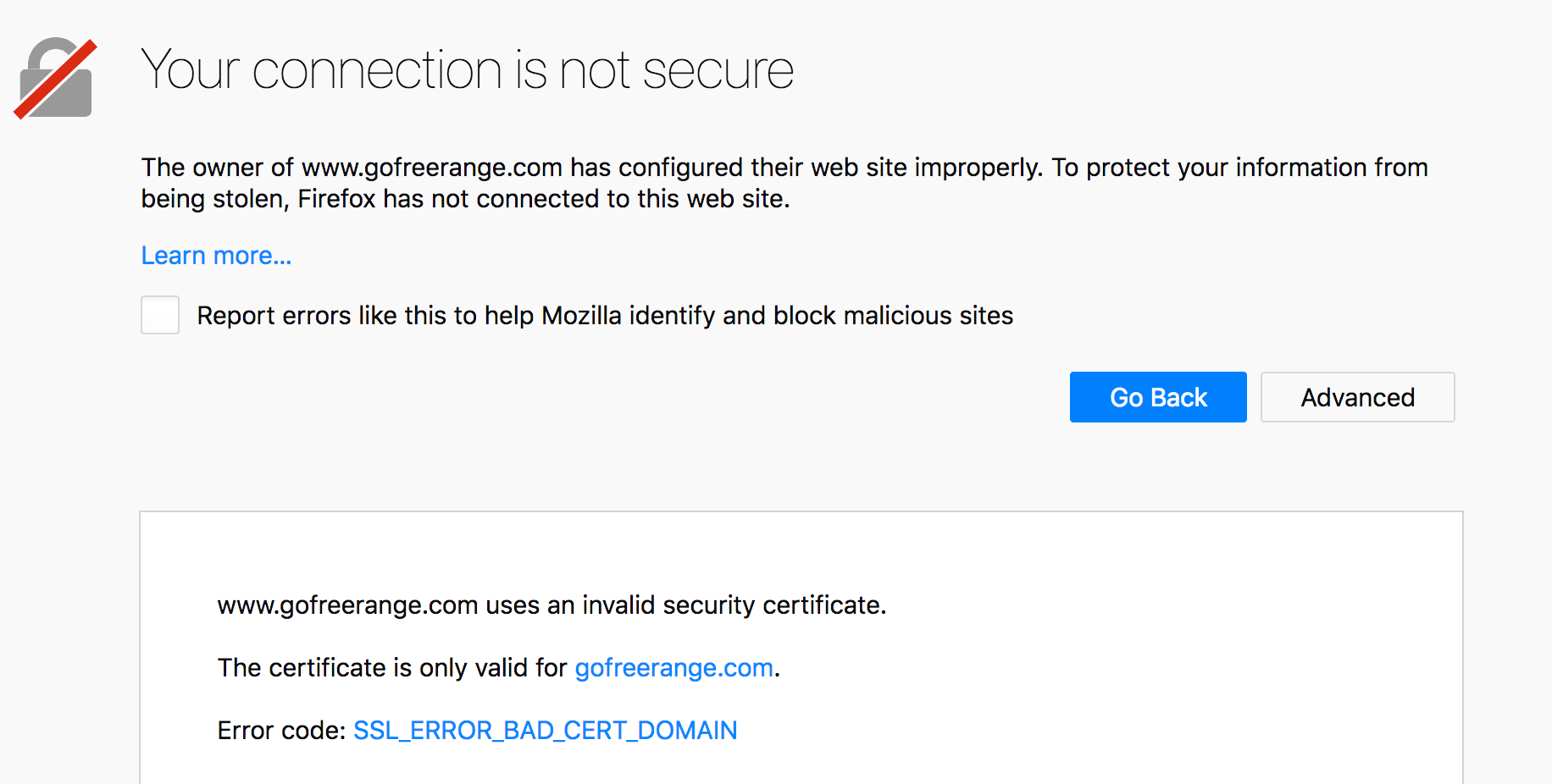 SSL error in Firefox