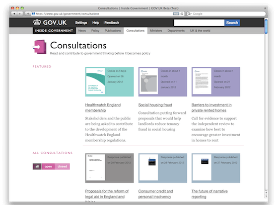 Consultations page on GOV.UK