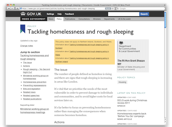Homelessness policy page on GOV.UK